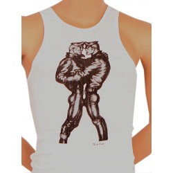 Tom of Finland Leather Duo Tank Top (Euro Size) White canotta