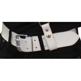 Mister B Belt White 5 cm. cintura leather pelle
