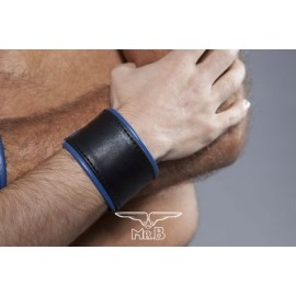 COLT Wrist Strap Band Black and Blue bracciale leather pelle con velcro