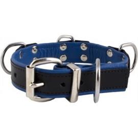 Mister B Slave Collar Blue 4 D Rings collare leather pelle regolabile per restrizioni