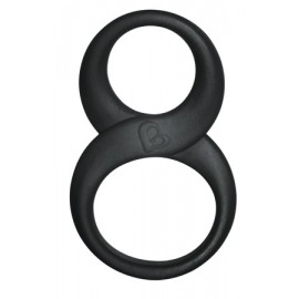 Rocks Off 8 Ball Black cockring ballstretcher in silicone nero