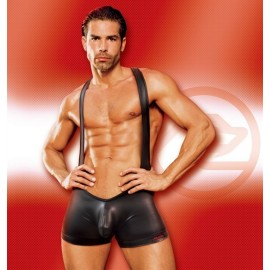Wet Look Wrestling Singlet Black
