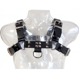 Mister B Chest Harness Saddle Leather Black harness versione basic pelle non senza cuciture