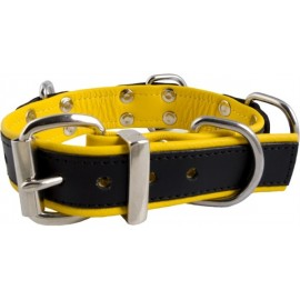 Mister B Slave Collar Yellow 4 D Rings collare leather pelle regolabile per restrizioni