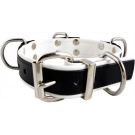 Mister B Slave Collar White 4 D Rings collare leather pelle regolabile per restrizioni