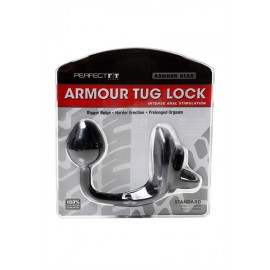 Perfect Fit Armour Tug Lock Black cockring plug in silicone