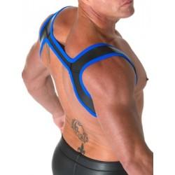 665 Leather Neoprene Slingshot Harness Black Blue in neoprene