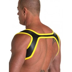 665 Leather Neoprene Slingshot Harness Black Yellow in neoprene
