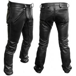 Mister B FXXXer Jeans All Black pantaloni leather in pelle