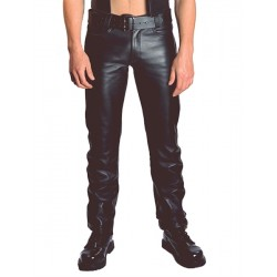 Mister B Jeans Zip Leather Jeans pantaloni in pelle con zip