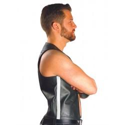 Mister B Muscle Vest  White Strip gilet leather pelle