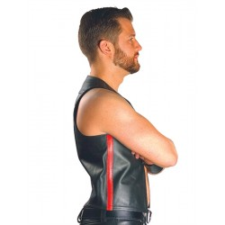 Mister B Muscle Vest  Red Strip gilet leather pelle