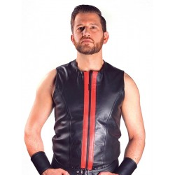 Mister B Vest Sleeveless Zip Red smanicata leather pelle
