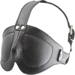 Mister B Deluxe Blindfold With Straps maschera chiusa leather in pelle