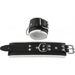 Mister B Leather Wrist Restraints Black White Padding coppia di bracciali per polsi leather pelle per restrizioni