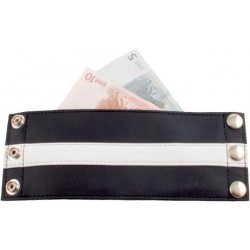 Mister B Wrist Wallet Zip White Striped bracciale portafoglio leather pelle con zip