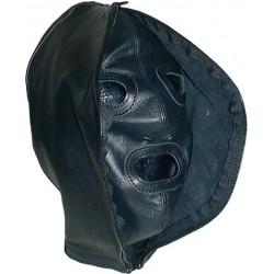 Mister B Leather Double Faced Hood maschera doppio uso chiusa o aperta leather aperta