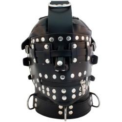 Mister B Leather Bondage Hood maschera doppio uso chiusa o aperta leather pelle
