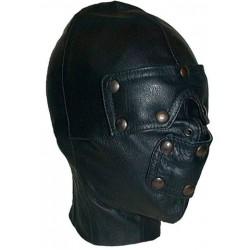 Mister B Mister B Slave Hood maschera con bende occhi e bocca rimovibili leather pelle