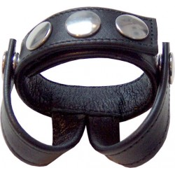 Mister B Cockstrap With Two Ball Straps cockring leather pelle con divisore con strap