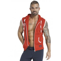 Jack Adams PDX Fleece Sleeveless Hoodie Red felpa in pile smanicata con cappuccio