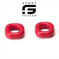 Sport Fucker Boner Expansion Kit Red 2 pezzi cockring e ballstretcher nero