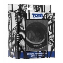 Tom of Finland Gun Metal Aluminum Cock Ring 45 mm. cockring in alluminio nero