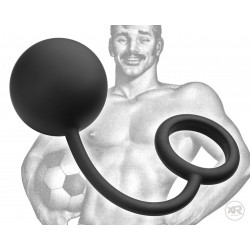 Tom of Finland Cock Ring With Heavy Anal Ball sfera anale & cockring in acciaio rivestita in silicone nero
