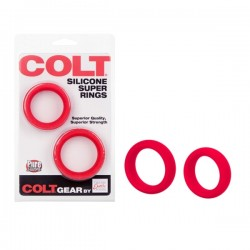 Colt Silicone Super Rings Red cockring coppia medium e large cockrings anelli pene in silicone rosso