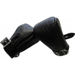Mister B Premium Bondage Fist Mitts coppia di guanti per restrizioni in pelle per mani