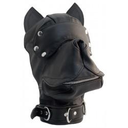 Mister B Leather Dog Hood Black maschera testa di cucciolo con muso orecchie