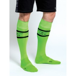 "Mister B URBAN Football Socks with Pocket Neon Green calzettoni ""football"" calzini con piccolo taschino interno"