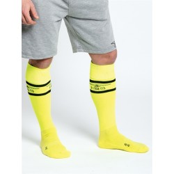 "Mister B URBAN Football Socks with Pocket Neon Yellow calzettoni ""football"" giallo neon, fosforescente,"