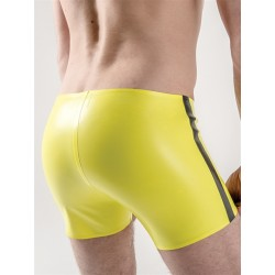 Mister B Rubber Trunks Neon Yellow Black Stripes calzoncini in gomma con strisce fosforescente