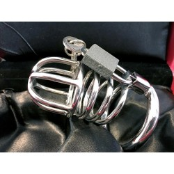 Black Label Male Chastity Device Stainless Steel gabbia di castità pene in acciaio inox