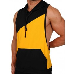 Pistol Pete Flex Hoody T Shirt Yellow Black smanicata con cappuccio