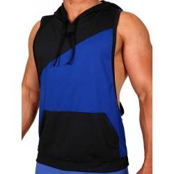 Pistol Pete Flex Hoody T Shirt Royal Black smanicata con cappuccio