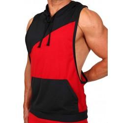 Pistol Pete Flex Hoody T Shirt Red Black smanicata con cappuccio