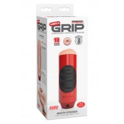 Pipedream Pdx Mega Grip Mouth Stroker bocca masturbatore realistico strizzabile e vibrante a più velocità