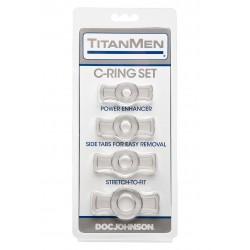 Titan Men Cockring Set Clear 4 cockring estensibili con alette