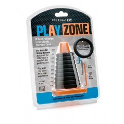 Perfect Fit Play Zone Kit Xact Fit Rings With Cone kit di 9 cockrings anelli pene in silicone con cono archiviatore