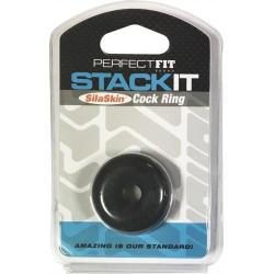 Perfect Fit Stack It Cock Ring Black anello per il pene ball stretcher estensibile nero