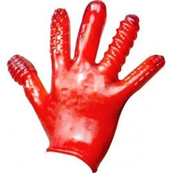 Oxballs Finger Fuck Textured Glove Police Red guanto morbido con struttura per penetrare