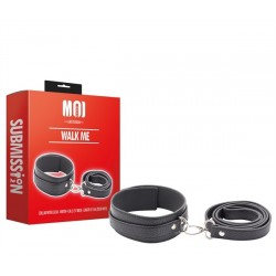 MOI Walk Me Collar With Leash Width 4 cm. Length 51 cm. restrizione collare con guinzaglio