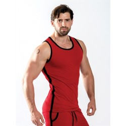 Mister B URBAN Manchester Tank Top Red canotta rosso nero