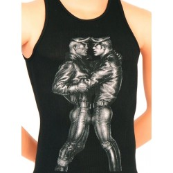 Tom of Finland Leather Duo Tank Top (Euro Size) Black canotta