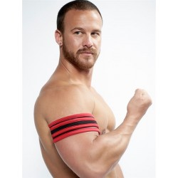 Mister B Neoprene Biceps Band Black Red banda in neoprene per bicipiti