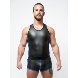 Mister B Neoprene Tank Top Black Blue canotta in neoprene