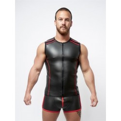 Mister B Neoprene Sleeveless T Zip Black Red smanicata in neoprene con zip