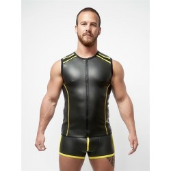 Mister B Neoprene Sleeveless T Zip Black Yellow smanicata in neoprene con zip